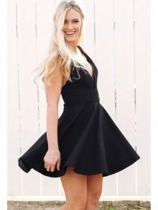 Cute A Line V Neck Backless Black Mini Homecoming Dress, Little Black Dress, Short Prom Dress Under 100