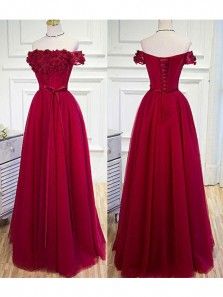 Elegant A Line Off the Shoulder Wine Tulle Long Prom Dress with Flower, Formal Evening Dress