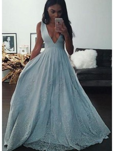 Gorgeous A Line Deep V Neck Backless Light Blue Lace and Satin Long Prom Dress with Beading, Luxurious Evening Dress
