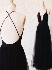 Elegant A Line V Neck Backless Black Tulle Long Prom Dress, Formal Evening Dress PD0708010