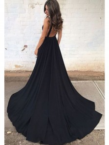 Charming A Line V Neck Backless Black Satin Long Prom Dress with Court Train, Long Evening Dress