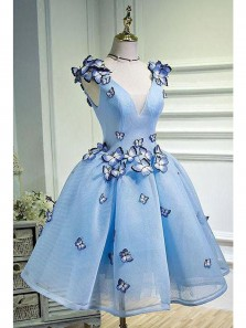 2018 New Arrival Gorgeous V Line V Neck Backless Blue Tulle Homecoming Dress with Applique, Snow White Dress