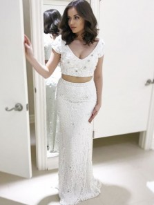 Charming Mermaid Two Piece V Neck Cap Sleeve Lace White Prom Dress with Beading, Elegant Formal Evening Dress