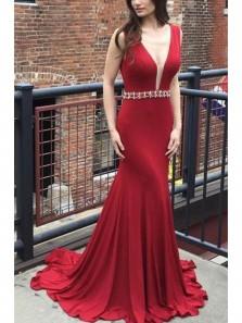 Charming Mermaid V Neck Backless Wine Long Prom Dress with Beading, Elegant Formal Evening Dress