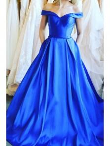 Charming A Line Off the Shoulder Royal Blue Satin Long Prom Dress, Elegant Formal Evening Dress