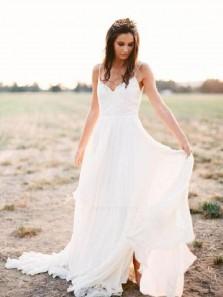 Charming A Line V Neck Spaghetti Straps Chiffon White Wedding Dress with Applique, Fairy Beach Wedding dress