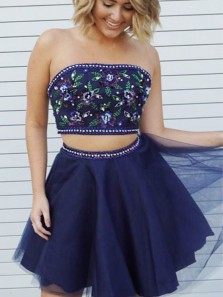 Cute A Line Two Piece Sweetheart Navy Short Homecoming Dress with Beading, Short Prom Dress,