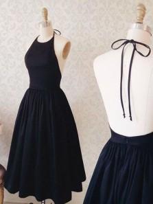 Charming A Line Halter Backless Black Short Homecoming Dress, Little Black Dress, Black Short Prom Dress Under 100