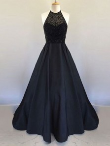 Elegant A Line Round Neck Backless Satin Black Prom Dress with Beading, Formal Evening Dress
