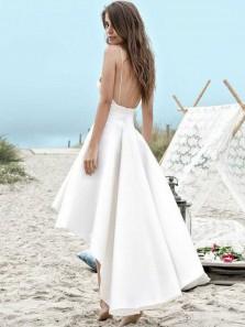 Elegant A Line High Low V Neck Backless Spaghetti Straps Satin White Homecoming Dress