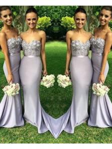 Fashion Charming Mermaid Grey Satin Bridesmaid Dress with Applique Under 100