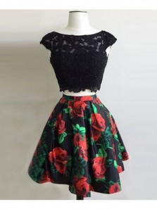 Elegant A Line Two Piece Scoop Open Back Print Flower Short Dress, Black Lace Short Homecoming Dress, Little Black Dress