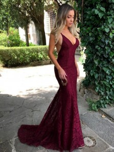 Modest Mermaid Halter Backless Lace Green Evening Dresses, Long Prom Dresses PD0711003