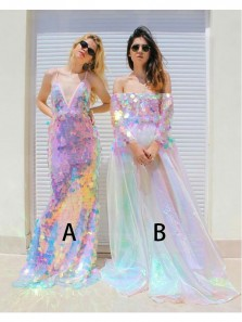 New Arrival Unique Sequins Long Prom Dress, Two Style Long Dress