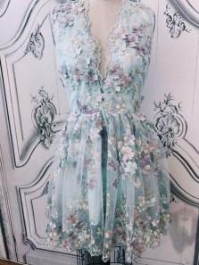 Elegant A Line V Neck Lace Homecoming Dress, Cute Short Dress