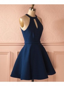 Cute A Line Halter Navy Blue Short Dress, Elastic Satin Navy Short Homecoming Dress with Pocket Under 100 HD0711003