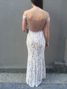 Charming Mermaid Slit Off the Shoulder White Lace Prom Dress, Elegant Formal Evening Dress
