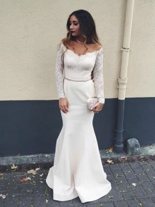 Charming Mermaid Off the Shoulder Long Sleeves White Prom Dresses, Elegant Formal Evening Dresses with Lace Sleeve PD0711008
