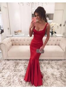 Charming Mermaid U Neck Backless Dark Red Prom Dress, Long Evening Dress