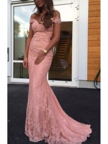 Charming Mermaid Off the Shoulder Lace Brush Pink Prom Dress, Long Formal Evening Dress