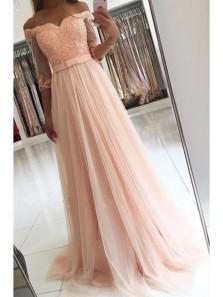 Elegant A Line Off the Shoulder Chiffon and Tulle Pink Prom Dress, Applique Half Sleeve Formal Evening Dress