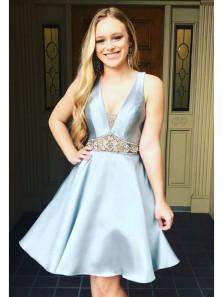 Cute A Line V Neck Backless Satin Grey Blue Short Dress with Beading, Elegant Short Homecoming Dress