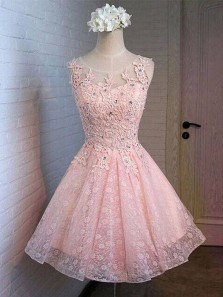 Cute A Line Scoop Open Back Pink Lace Short Dress, Applique and Beaded Short Homecoming Dress