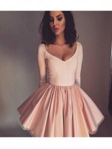 Simple & Cute A Line V Neck Open Back Brush Elastic Satin Short Dress/ Homecoming Dress Under 100