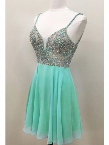 Cute and Simple A Line V Neck Backless Chiffon Mint Short Dress /Homecoming Dress with Beading