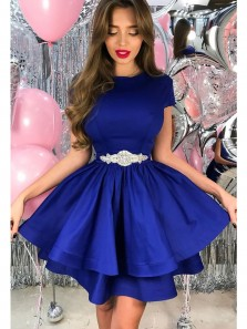 Cute A Line Scoop Royal Blue Satin Homecoming Dress with Beading, Simple Short Dress Under 100 HD0712013