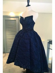 Unique High Low Sweetheart Backless Navy Satin and Lace Homecoming Dress with Beading, Elegant Evening Dress, Long Prom Dress