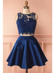 Cute A Line Two Piece Scoop Lace and Satin Navy Short Homecoming Dress, Short Prom Dress Under 100 HD0713004