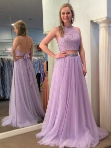 Cute A Line Two Piece Halter Open Back Tulle Lavender Prom Dress with Lace, Elegant Formal Evening Dress