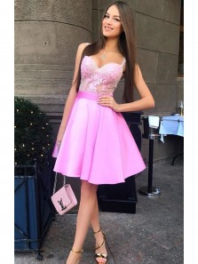 Charming A Line Sweetheart Spaghetti Straps Fuchsia​ Short Homecoming Dress with Applique