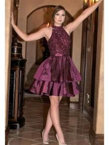 Unique A Line Halter Satin Burgundy Beading Short Homecoming Dress, Cute Short Dress