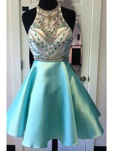 Cute A Line Halter Backless Sparkly Satin Teal Homecoming Dress, Short Prom Dress