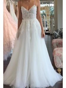 Elegant A Line V Neck Spaghetti Straps White Tulle Wedding Dress with Applique WD0714001