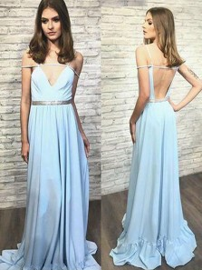 Unique A Line V Neck Backless Light Blue Chiffon Prom Dress with Beading, Charming Formal Evening Dress