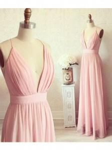 Elegant A Line V Neck Backless Spaghetti Straps Chiffon Brush Prom Dress, Long Formal Evening Dress Under 100