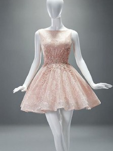 Cute A Line Scoop Backless Lace Pink Homecoming Dress, Sparky Short Dress with Applique