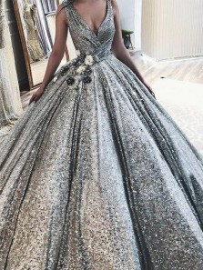 Luxurious Ball Gown V Neck Silver Sequins Long Prom Dresses, Sparkly Prom Dresses with Flowers