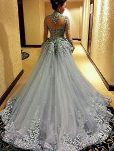 Gorgeous Ball Gown Halter Open Back Tulle Long Sleeve Grey Wedding Dress with Applique WD0715001