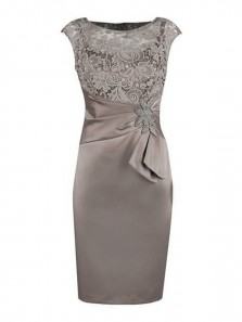 Sheath Grey Bateau Cap Sleeves Mother of The Bride Dress with Lace Appliques