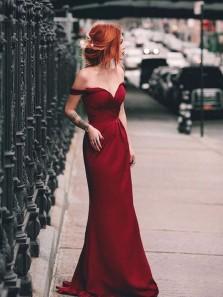 Charming Mermaid Off the Shoulder Burgundy Long Prom Dress, Elegant Formal Evening Dress