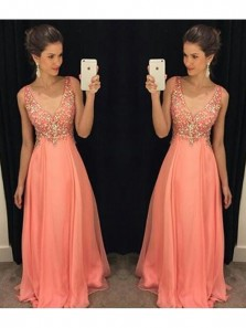 Gorgeous A Line V Neck Open Back Coral Chiffon Long Prom Dress with Beading, Elegant Formal Evening Dress