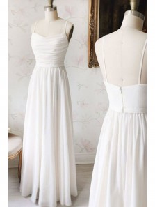 Elegant A Line Sweetheart Spaghetti Straps White Chiffon Long Prom Dress, Ivory Bridesmaid Dress Under 100