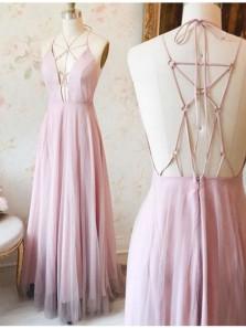 Elegant A Line V Neck Cross Straps Back Pink Tulle & Chiffon Long Prom Dress, Formal Evening Dress Under 100
