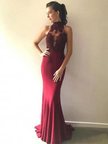 Charming Mermaid Halter Open Back Burgundy Long Prom Dress with Applique, Elegant Formal Evening Dress PD0716004