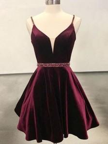 Cute A Line V Neck Open Back Velvet Burgundy Short Homecoming Dress, Short Prom Dress Under 100 HD0716002