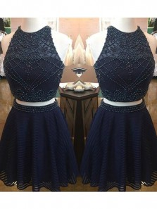 Cute A Line Two Piece Halter Tulle Navy Short Homecoming Dress with Beading, Short Prom Dress